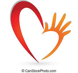 ロゴ, 手, 心