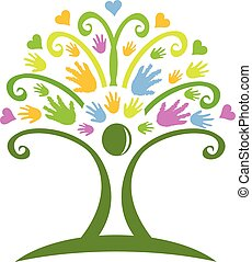 ロゴ, 手, 木
