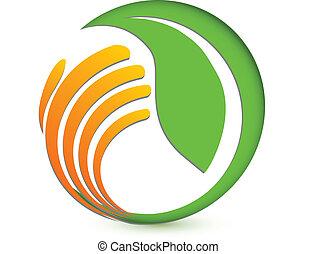 ロゴ, 手, 環境, 保護