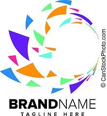 ロゴ, 抽象的, 技術, ピクセル, 媒体