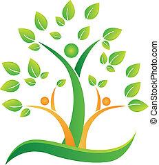 ロゴ, 抽象的, 木, 人々