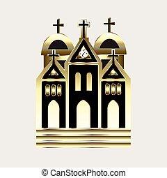 ロゴ, 教会, 金, アイコン