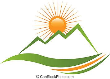 ロゴ, 日当たりが良い, 山