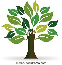 ロゴ, 木, 人々