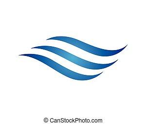 ロゴ, 水, 波