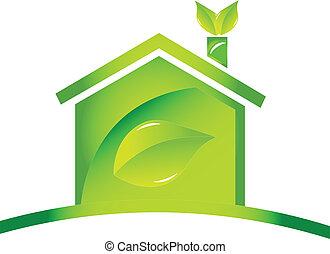 ロゴ, 生態学的, アイコン, グロッシー, 家