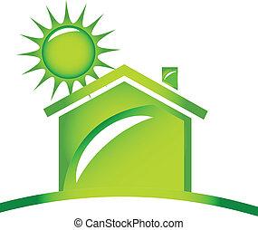 ロゴ, 生態学的, アイコン, 家