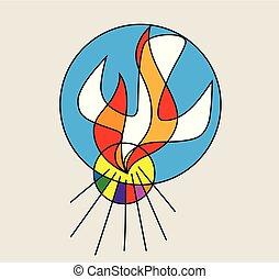 ロゴ, 神聖, 線, 精神, 火