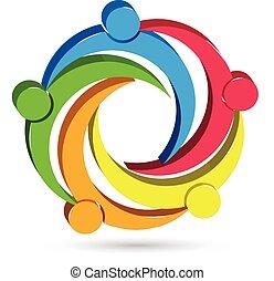 ロゴ, 統一, 人々, チームワーク, 3d