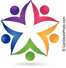 ロゴ, 統一, 花, チームワーク, 人々