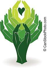 ロゴ, 緑の木, 手