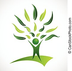 ロゴ, 緑の木, leafs, 人々