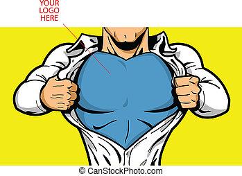 ロゴ, 胸, superhero, あなたの