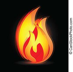 ロゴ, 色, 鮮やか, 炎