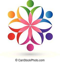 ロゴ, 花, チームワーク, 人々