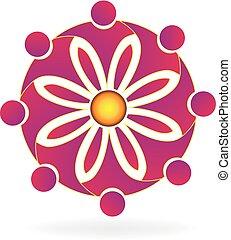 ロゴ, 花, チームワーク