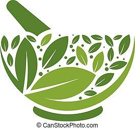 ロゴ, 草, すりこぎ, モルタル