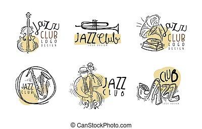 ロゴ, 道具, デザイン, セット, ジャズクラブ, ミュージカル, ベクトル