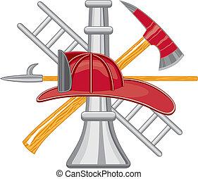 ロゴ, 道具, 消防士