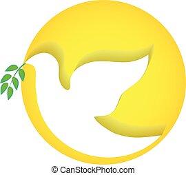 ロゴ, 鳩, ベクトル, 平和