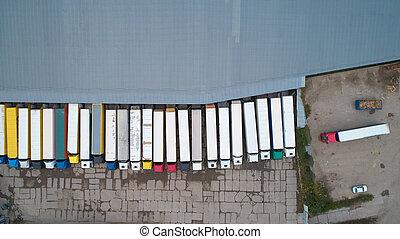 ロジスティクス, 都市, 商品, 航空写真, 中心, 地域, above., 産業, warehouse., 光景