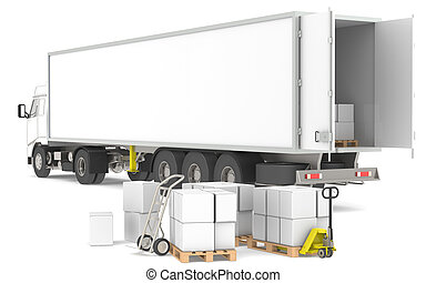 ロジスティクス, distribution., series., trucks., 青, 黄色, 箱, 部分, パレット, 倉庫, 開いた, トレーラー