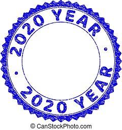 ロゼット, 年, textured, 切手, 2020, ラウンド, グランジ