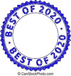 ロゼット, textured, シール, 切手, 最も良く, 2020, ラウンド, グランジ