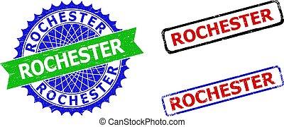 ロチェスター, ロゼット, 二色, unclean, バッジ, 表面, 長方形