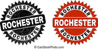 ロチェスター, 傷付けられる, ロゼット, 切手, 黒, 手ざわり, シール