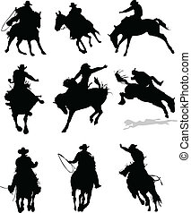 ロデオ, 馬, silhouettes., il, ベクトル
