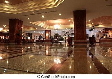 ロビー, ホテル, 現代, 大理石の床