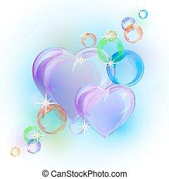 ロマンチック, カラフルである, shapes., 背景, 心, 泡