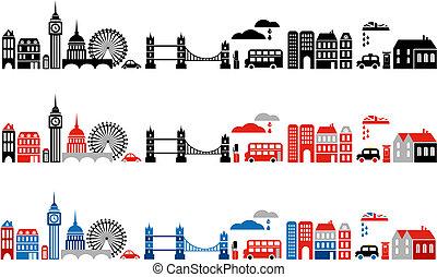 ロンドン, イラスト, 都市, ベクトル