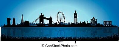 ロンドン, スカイラインのシルエット, 夜
