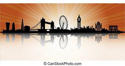 ロンドン, スカイラインのシルエット, 日没