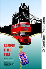 ロンドン, ベクトル, decker, イメージ, 開いた, ダブル, ジッパー, bus., イラスト