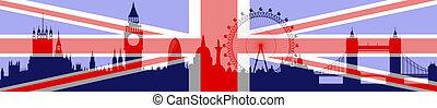 ロンドン, 旗, ベクトル, -, スカイライン
