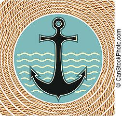 ロープ, シンボル, 錨, 装飾, 背景, 海事, 白, フレーム