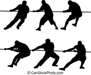 ロープ, 引く, 人々