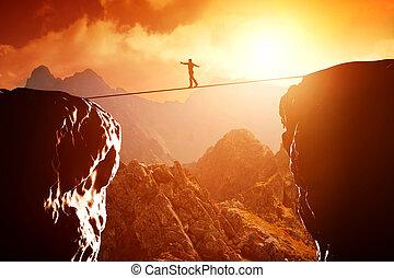 ロープ, 歩くこと, バランスをとる, 人