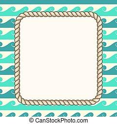 ロープ, 海事, ベクトル, 背景, 波, フレーム