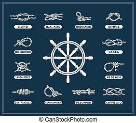 ロープ, 結び目, セット, 海事