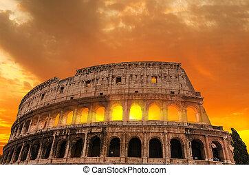 ローマ人, colosseum, sunset.