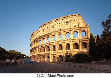 ローマ, イタリア, 日没, colosseum