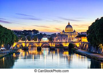 ローマ, 夕闇, 照らされた, ピーター, 大聖堂, st. 。