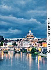 ローマ, 大聖堂, ピーター, st. 。, 照らされた, 夕闇