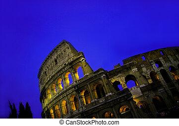 ローマ, 空, colosseum, 青, 夕闇