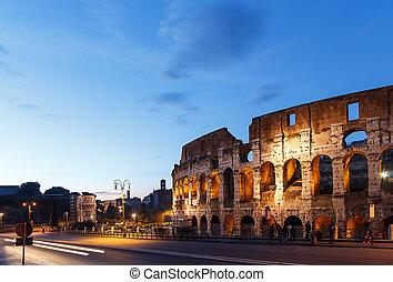 ローマ, colosseum, イタリア, sunset.