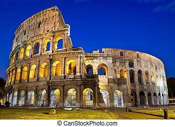 ローマ, -, colosseum, 夕闇
